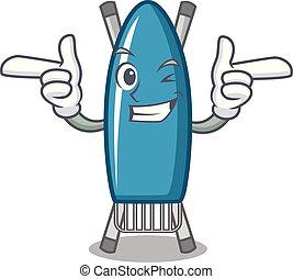 Wink iron board character cartoon vector illustration