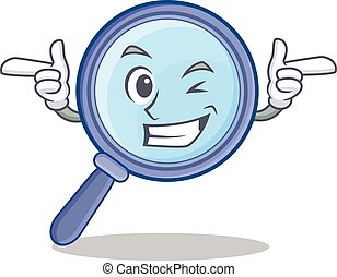 Wink magnifying glass character cartoon