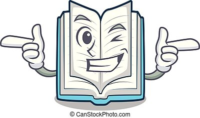 Wink opened book isolated in the character