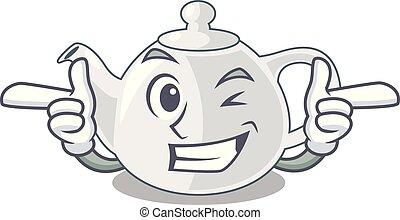 Wink porcelain teapot ceramic isolate on mascot