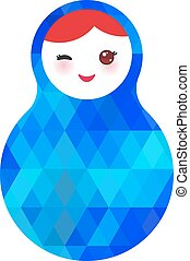 wink Russian dolls matryoshka with bright rhombus on white background, blue colors. Vector