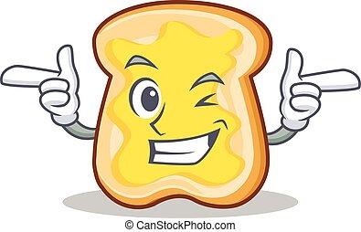 Wink slice bread cartoon character vector art illustration