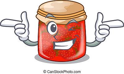 Wink strawberry marmalade in glass jar of cartoon