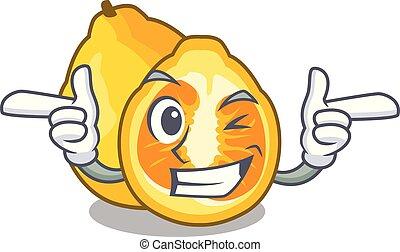 Wink ugli in the mascot fruit basket illustration vector