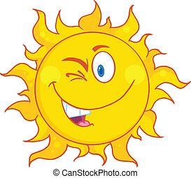 winked, sol, caricatura, mascote, personagem