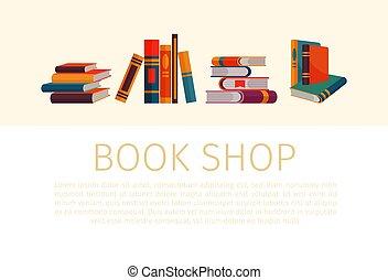 winkel, aambeien, banner., opperen, vrijstaand, illustratie, spotprent, boek, vector, boekjes , achtergrond, witte , style., of, winkel
