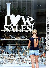 winkel, banners., venster, verkoop