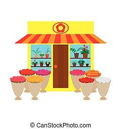 winkel, bloem, binnen, illustratie, buitenshuis, bloemen