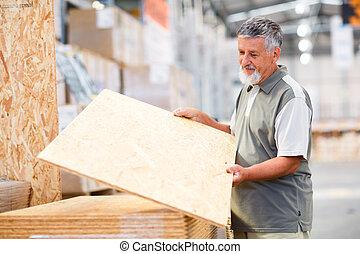 winkel, bouwsector, man, kies, hout, doe het zelf, aankoop