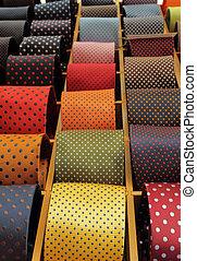 winkel, detail, zich verbeelden, venster, neckties, verzameling, italiaanse