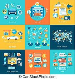 winkel, dienst, media, sociaal, wassen, online, auto