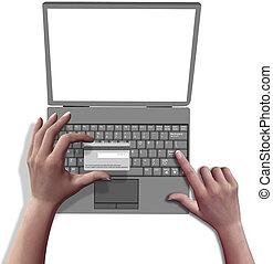 winkel, draagbare computer, handen, krediet, computer, online, kaart
