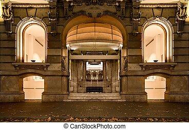 winkel, facade, luxe, barcelona, nacht