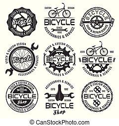 winkel, fiets, etiketten, vector, emblems, kentekens