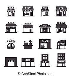 winkel, gebouw, pictogram, set