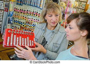 winkel, het kijken, ambacht, vrouw, thimbles