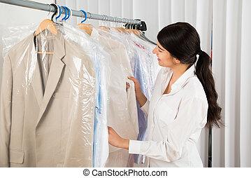 winkel, het kijken, vrouw, kleren