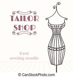 winkel, ijzer, ouderwetse , mannequin., kleermaker,...