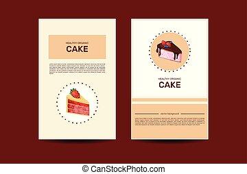 winkel, illustration., confectionary, tekst, zoetigheden, hand, plek, gebakje, mal, informatieboekje , getrokken, of, kaart