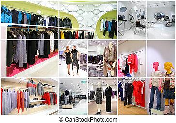 winkel, interieur, collage, kleren