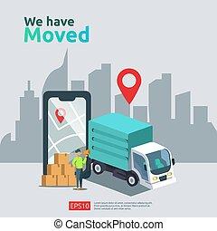 winkel, kantoor, achtergrond, pagina, concept., veranderen, thuis, plaats, app, ui, wij, zakelijk, flyer, aankondiging, vector, web, poster, hebben, spandoek, of, tussenverdieping, adres, mal, nieuw, bewogen, beweeglijk, illustratie