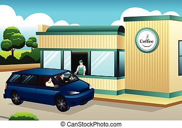 winkel, koffie, aandrijving-door, aankoop, mensen