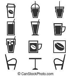 winkel, koffie, iconen, achtergrond, witte , dranken