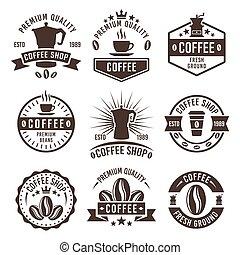 winkel, koffie, kentekens, ouderwetse , etiketten, emblems, vector