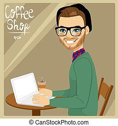 winkel, koffie, man