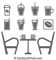 winkel, koffie stel, achtergrond, witte , dranken
