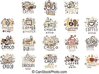 winkel, koffie stel, kleurrijke, hand, vector, illustraties, getrokken