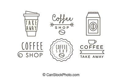 winkel, koffiekop, iconen, set, etiketten, illustratie, vector, achtergrond, takeaway, lijn, witte , kentekens