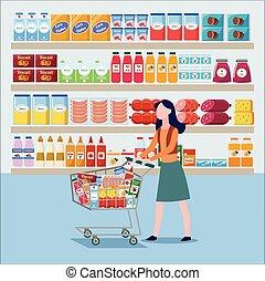 winkel, kruidenierswinkel, vrouw, illustration., vector, achtergrond., producten, plat, aankoop