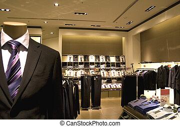 winkel, mannen, kleding