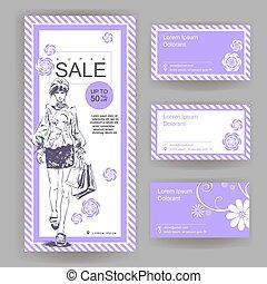 winkel, mode, opmaak, card., zakelijk, groot, verkoop, clothes., elegant, getrokken, modieus, meisje