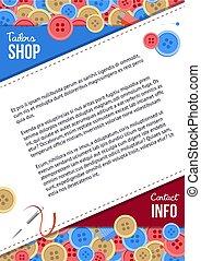 winkel, naaiwerk, poster, kleermakers, knopen, mal, items