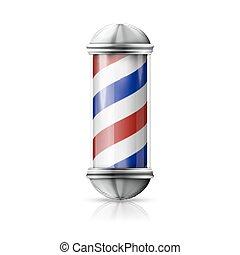 winkel, oud, blauwe , realistisch, ouderwetse , -, glas, pool, vector, kapper, fashioned, stripes., witte , zilver, rood