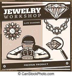 winkel, ouderwetse , juwelen, mal