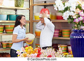 winkel, paar, bloem