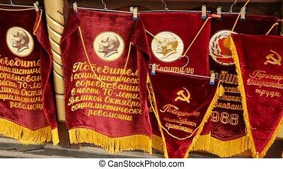 winkel, pennants, toonbank, souvenir, symbolen, vlaggen, ...