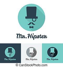 winkel, plat, set, bar, moderne, gezicht, vector, hipster, ...