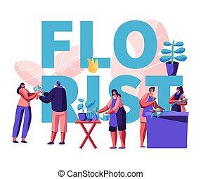winkel, poster., compositions, ontwerp, kies, bloemist, het geven, bloem, bezoeken, meiden, profession., winkel, plat, klanten, illustratie, potten, spotprent, aankoop, planten, vector, vervaardiging, boeketten