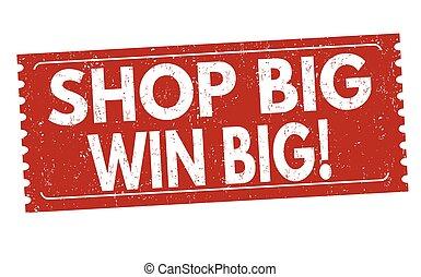 winkel, postzegel, winnen, meldingsbord, groot, of
