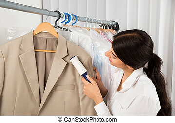 winkel, reinigingsmachine, wasserij, rol, kleefstof