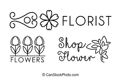 winkel, salon, bloem, lineair, identiteit, het brandmerken, illustratie, floral, vector, ontwerp, logo, achtergrond, bloemist, witte , communie