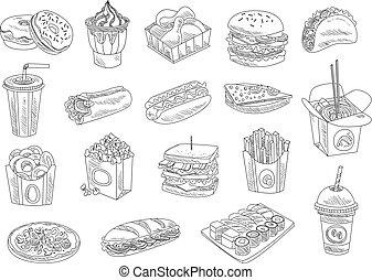winkel, schets, vector, voedingsmiddelen, menu, set., voedingsmiddelen, vasten, hand, straat, ontwerp, getrokken, koffiehuis, of, dranken