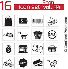 winkel, set, black , vector, iconen
