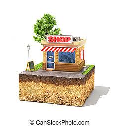 winkel, shoppen , zakelijk, grond, concept., boompje,...