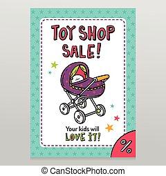 winkel, speelbal, verkoop, vector, flyer, ontwerp, baby wandelaar