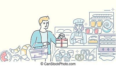 winkel, stijl, kleurrijke, -, illustratie, bakkerij, ontwerp, lijn